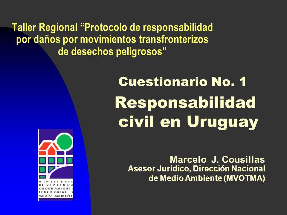 Taller Regional Protocolo de responsabilidad por daños por movimientos transfronterizos de desechos peligrosos Cuestionario No.
