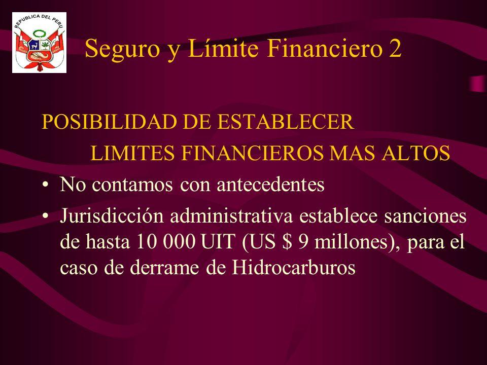 Seguro y Límite Financiero 2 POSIBILIDAD DE ESTABLECER LIMITES FINANCIEROS MAS ALTOS No contamos con antecedentes Jurisdicción administrativa establece sanciones de hasta 10 000 UIT (US $ 9 millones), para el caso de derrame de Hidrocarburos