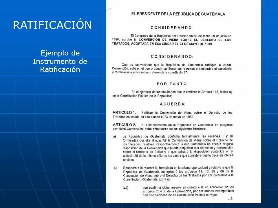 Ejemplo de Instrumento de Ratificación RATIFICACIÓN
