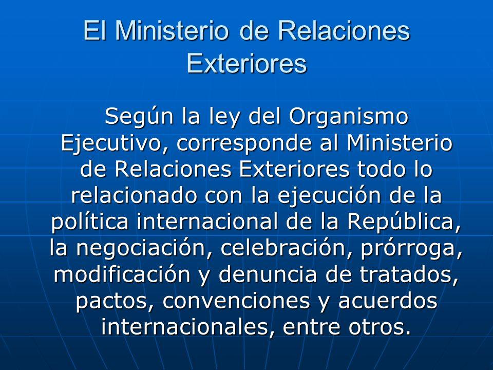 El Ministerio de Relaciones Exteriores Según la ley del Organismo Ejecutivo, corresponde al Ministerio de Relaciones Exteriores todo lo relacionado co