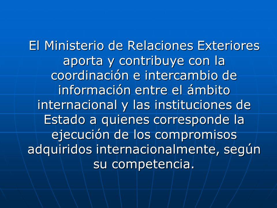 El Ministerio de Relaciones Exteriores aporta y contribuye con la coordinación e intercambio de información entre el ámbito internacional y las instit