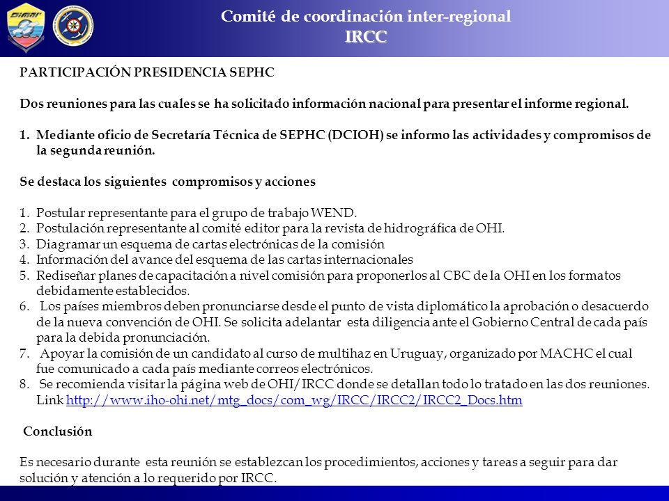 Comité de coordinación inter-regionalIRCC PARTICIPACIÓN PRESIDENCIA SEPHC Dos reuniones para las cuales se ha solicitado información nacional para pre
