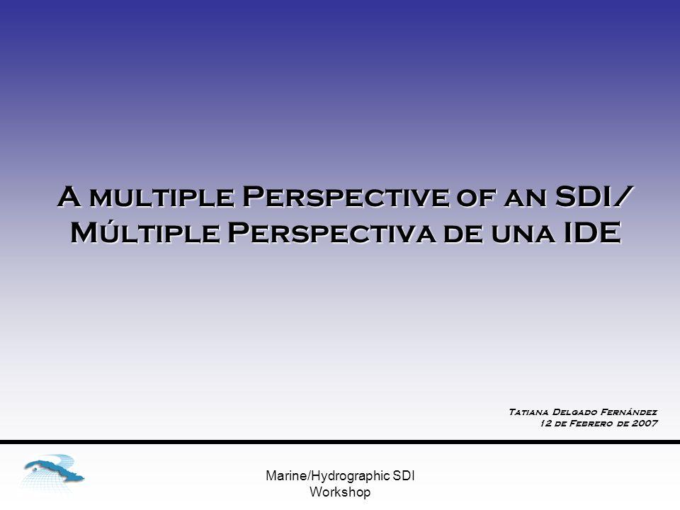 Marine/Hydrographic SDI Workshop A multiple Perspective of an SDI/ Múltiple Perspectiva de una IDE Tatiana Delgado Fernández 12 de Febrero de 2007