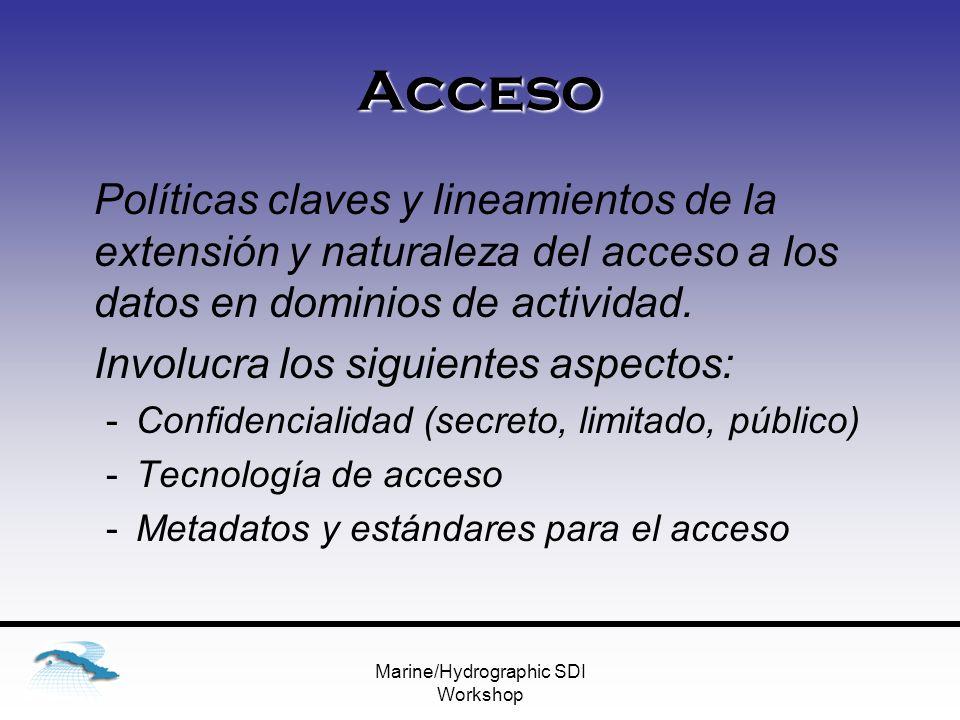 Marine/Hydrographic SDI Workshop Acceso Políticas claves y lineamientos de la extensión y naturaleza del acceso a los datos en dominios de actividad.
