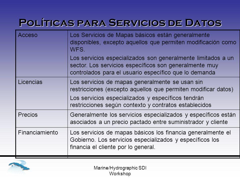 Marine/Hydrographic SDI Workshop Políticas para Servicios de Datos AccesoLos Servicios de Mapas básicos están generalmente disponibles, excepto aquellos que permiten modificación como WFS.