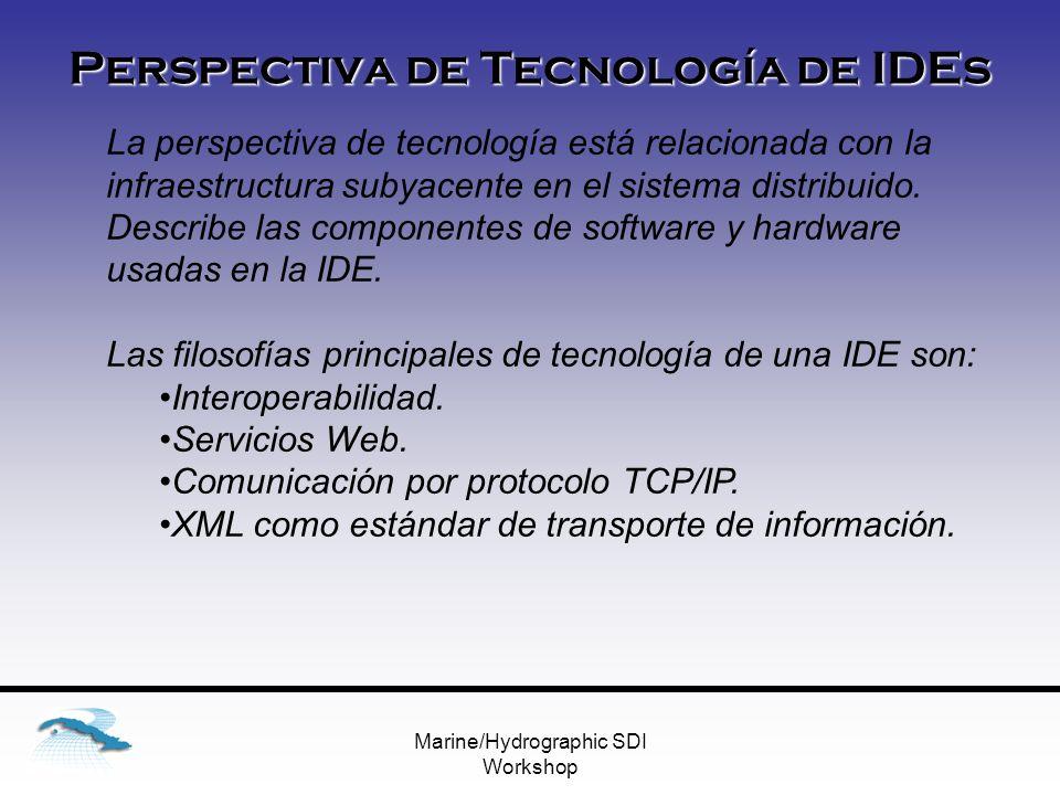 Marine/Hydrographic SDI Workshop Perspectiva de Tecnología de IDEs La perspectiva de tecnología está relacionada con la infraestructura subyacente en el sistema distribuido.