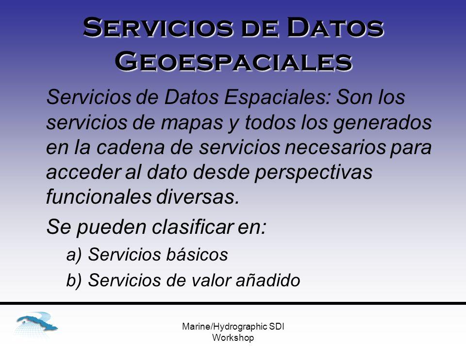 Marine/Hydrographic SDI Workshop Servicios de Datos Geoespaciales Servicios de Datos Espaciales: Son los servicios de mapas y todos los generados en la cadena de servicios necesarios para acceder al dato desde perspectivas funcionales diversas.