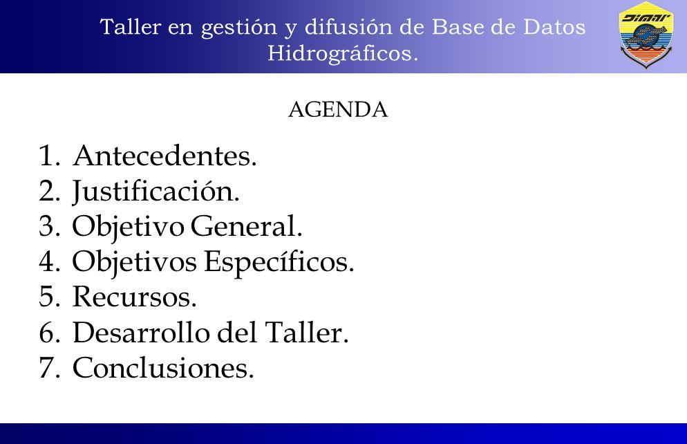 1.Antecedentes. 2.Justificación. 3.Objetivo General. 4.Objetivos Específicos. 5.Recursos. 6.Desarrollo del Taller. 7.Conclusiones. AGENDA Taller en ge