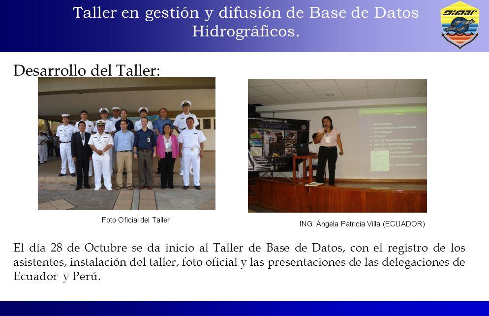 Taller en gestión y difusión de Base de Datos Hidrográficos. Desarrollo del Taller: El día 28 de Octubre se da inicio al Taller de Base de Datos, con
