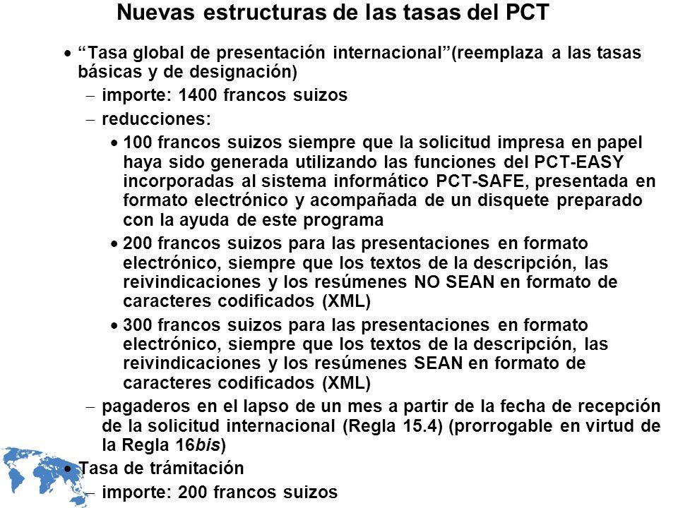 Nuevas estructuras de las tasas del PCT Tasa global de presentación internacional(reemplaza a las tasas básicas y de designación) importe: 1400 franco