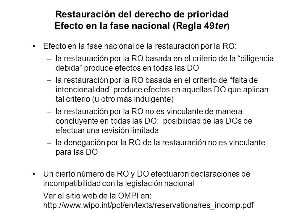 Restauración del derecho de prioridad Efecto en la fase nacional (Regla 49ter ) Efecto en la fase nacional de la restauración por la RO: –la restauración por la RO basada en el criterio de la diligencia debida produce efectos en todas las DO –la restauración por la RO basada en el criterio de falta de intencionalidad produce efectos en aquellas DO que aplican tal criterio (u otro más indulgente) –la restauración por la RO no es vinculante de manera concluyente en todas las DO: posibilidad de las DOs de efectuar una revisión limitada –la denegación por la RO de la restauración no es vinculante para las DO Un cierto número de RO y DO efectuaron declaraciones de incompatibilidad con la legislación nacional Ver el sitio web de la OMPI en: http://www.wipo.int/pct/en/texts/reservations/res_incomp.pdf