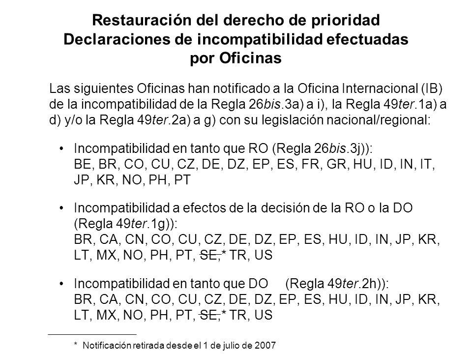 Restauración del derecho de prioridad Declaraciones de incompatibilidad efectuadas por Oficinas Las siguientes Oficinas han notificado a la Oficina Internacional (IB) de la incompatibilidad de la Regla 26bis.3a) a i), la Regla 49ter.1a) a d) y/o la Regla 49ter.2a) a g) con su legislación nacional/regional: Incompatibilidad en tanto que RO (Regla 26bis.3j)): BE, BR, CO, CU, CZ, DE, DZ, EP, ES, FR, GR, HU, ID, IN, IT, JP, KR, NO, PH, PT Incompatibilidad a efectos de la decisión de la RO o la DO (Regla 49ter.1g)): BR, CA, CN, CO, CU, CZ, DE, DZ, EP, ES, HU, ID, IN, JP, KR, LT, MX, NO, PH, PT, SE,* TR, US Incompatibilidad en tanto que DO(Regla 49ter.2h)): BR, CA, CN, CO, CU, CZ, DE, DZ, EP, ES, HU, ID, IN, JP, KR, LT, MX, NO, PH, PT, SE,* TR, US * Notificación retirada desde el 1 de julio de 2007
