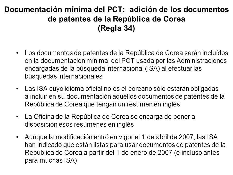Documentación mínima del PCT: adición de los documentos de patentes de la República de Corea (Regla 34) Los documentos de patentes de la República de