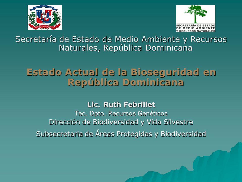 Secretaría de Estado de Medio Ambiente y Recursos Naturales, República Dominicana Estado Actual de la Bioseguridad en República Dominicana Lic. Ruth F