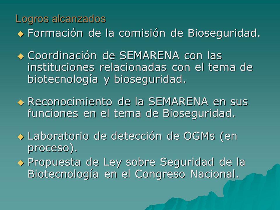 Logros alcanzados Formación de la comisión de Bioseguridad. Formación de la comisión de Bioseguridad. Coordinación de SEMARENA con las instituciones r