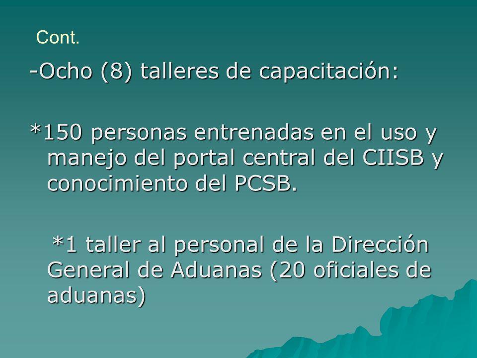Cont. -Ocho (8) talleres de capacitación: *150 personas entrenadas en el uso y manejo del portal central del CIISB y conocimiento del PCSB. *1 taller