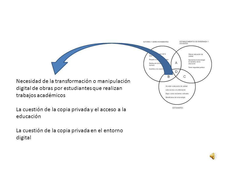 Necesidad de la transformación o manipulación digital de obras por estudiantes que realizan trabajos académicos La cuestión de la copia privada y el a