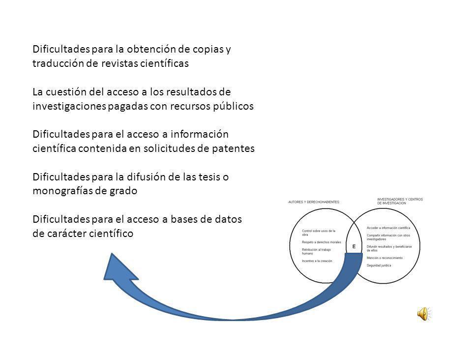 Dificultades para la obtención de copias y traducción de revistas científicas La cuestión del acceso a los resultados de investigaciones pagadas con r
