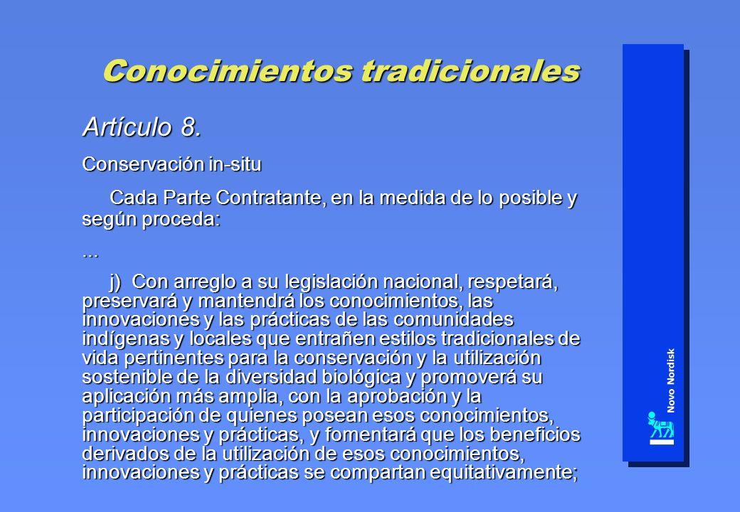 Conocimientos tradicionales Artículo 8. Conservación in-situ Cada Parte Contratante, en la medida de lo posible y según proceda: Cada Parte Contratant