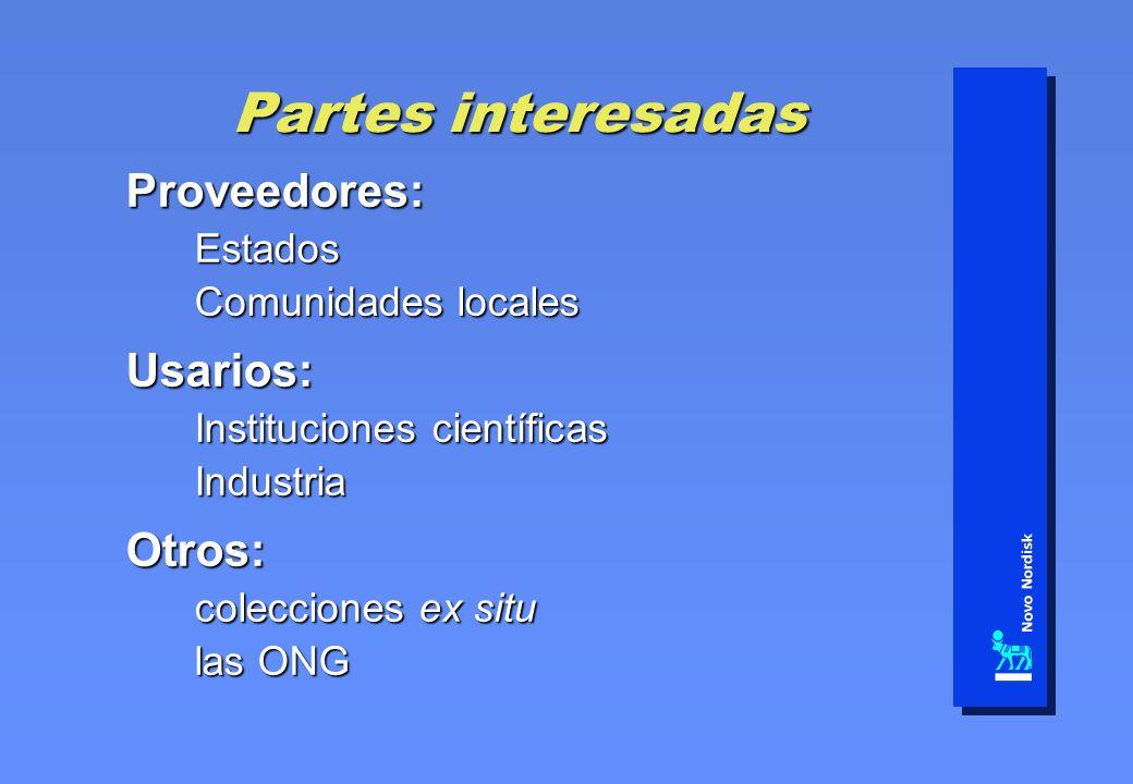 Partes interesadas Proveedores:Estados Comunidades locales Usarios: Instituciones científicas IndustriaOtros: colecciones ex situ las ONG
