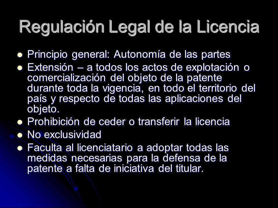 Regulación Legal de la Licencia Principio general: Autonomía de las partes Principio general: Autonomía de las partes Extensión – a todos los actos de