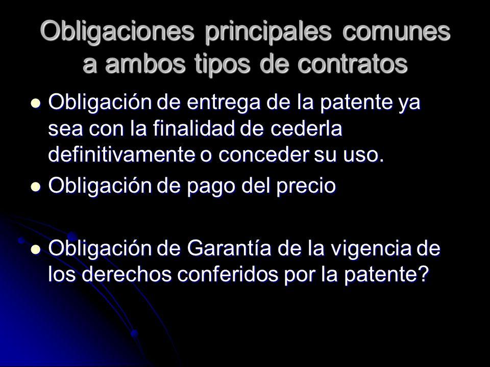 Obligaciones principales comunes a ambos tipos de contratos Obligación de entrega de la patente ya sea con la finalidad de cederla definitivamente o c