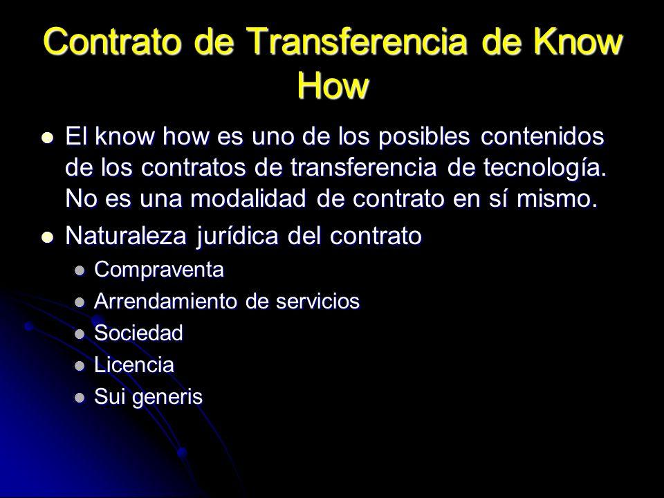 Contrato de Transferencia de Know How El know how es uno de los posibles contenidos de los contratos de transferencia de tecnología. No es una modalid