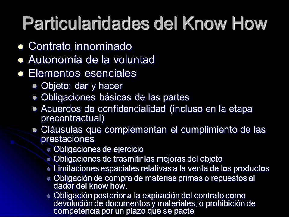 Particularidades del Know How Contrato innominado Contrato innominado Autonomía de la voluntad Autonomía de la voluntad Elementos esenciales Elementos