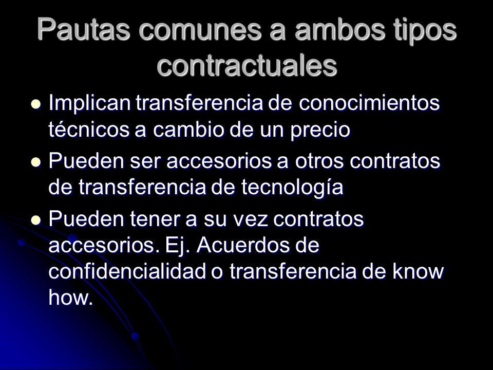 Pautas comunes a ambos tipos contractuales Implican transferencia de conocimientos técnicos a cambio de un precio Implican transferencia de conocimien