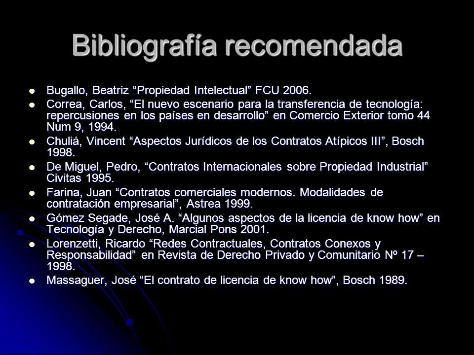 Bibliografía recomendada Bugallo, Beatriz Propiedad Intelectual FCU 2006. Bugallo, Beatriz Propiedad Intelectual FCU 2006. Correa, Carlos, El nuevo es