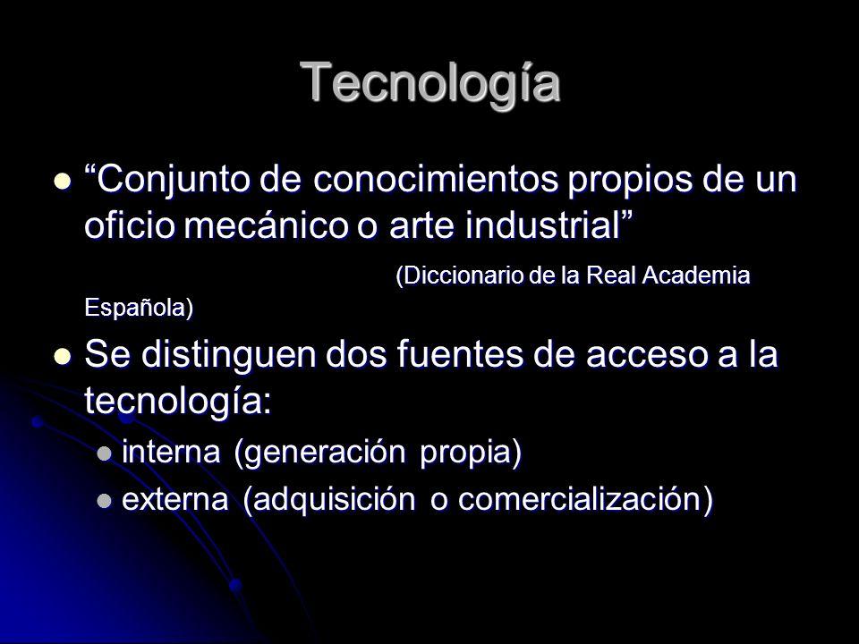 Tecnología Conjunto de conocimientos propios de un oficio mecánico o arte industrial (Diccionario de la Real Academia Española) Conjunto de conocimien