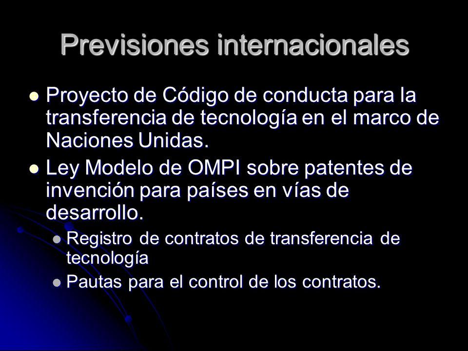 Previsiones internacionales Proyecto de Código de conducta para la transferencia de tecnología en el marco de Naciones Unidas. Proyecto de Código de c