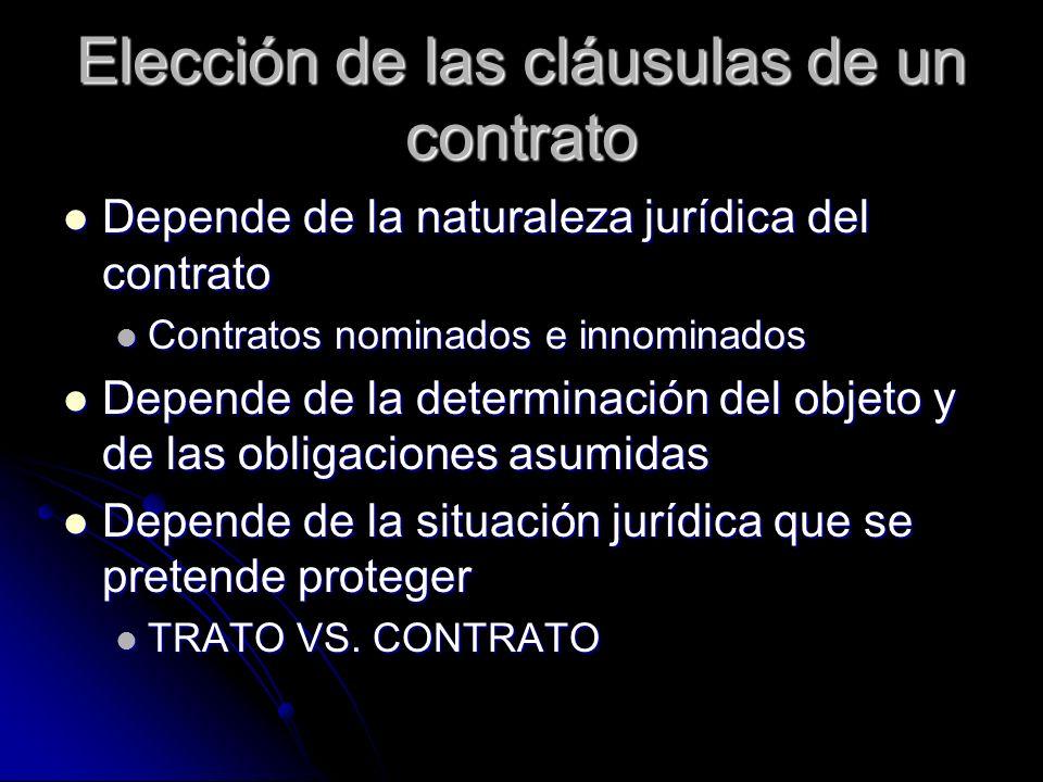 Elección de las cláusulas de un contrato Depende de la naturaleza jurídica del contrato Depende de la naturaleza jurídica del contrato Contratos nomin