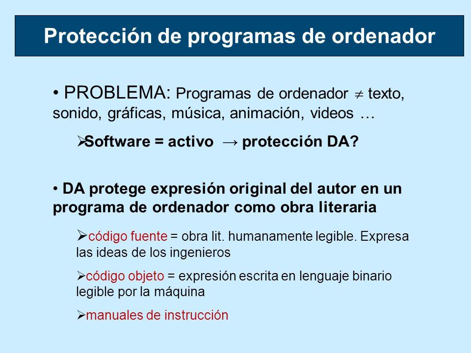 PROBLEMA: Programas de ordenador texto, sonido, gráficas, música, animación, videos … Software = activo protección DA? DA protege expresión original d