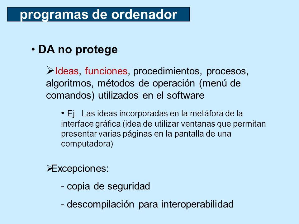 programas de ordenador DA no protege Ideas, funciones, procedimientos, procesos, algoritmos, métodos de operación (menú de comandos) utilizados en el