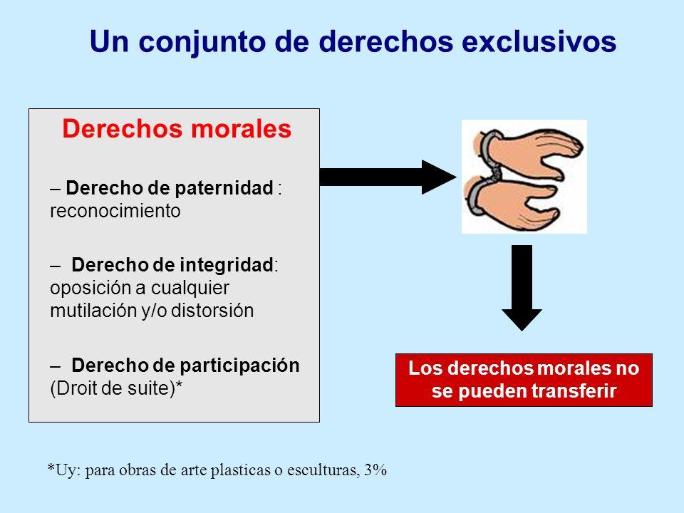 Los derechos morales no se pueden transferir Derechos morales – Derecho de paternidad : reconocimiento – Derecho de integridad: oposición a cualquier