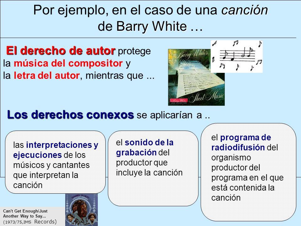 canción Por ejemplo, en el caso de una canción Barry White de Barry White … El derecho de autor El derecho de autor protege la música del compositor y