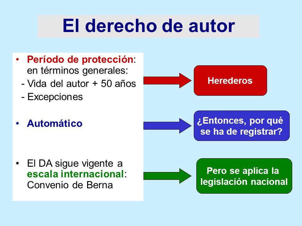 El derecho de autor Período de protección: en términos generales: - Vida del autor + 50 años - Excepciones Automático El DA sigue vigente a escala int