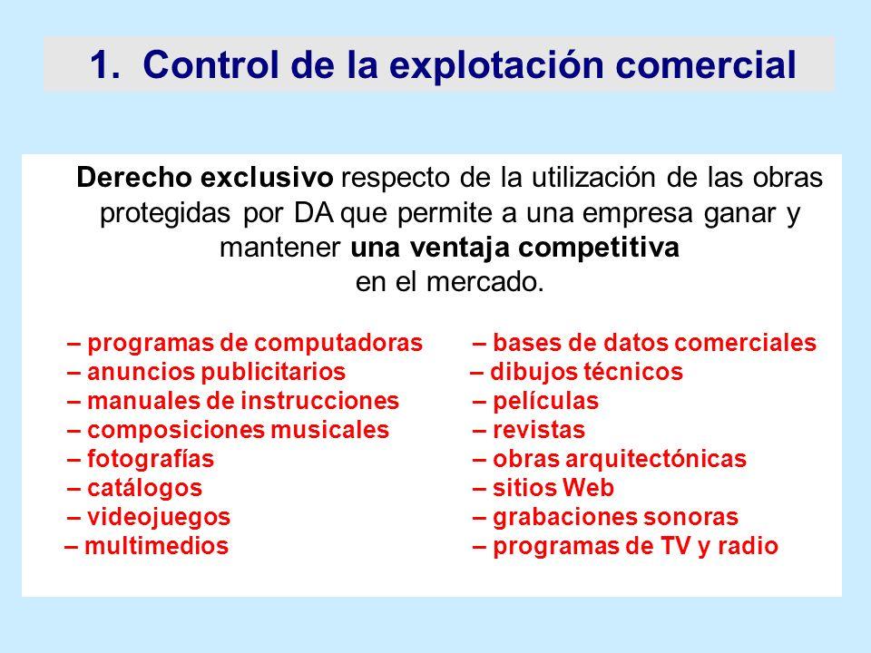 1. Control de la explotación comercial Derecho exclusivo respecto de la utilización de las obras protegidas por DA que permite a una empresa ganar y m