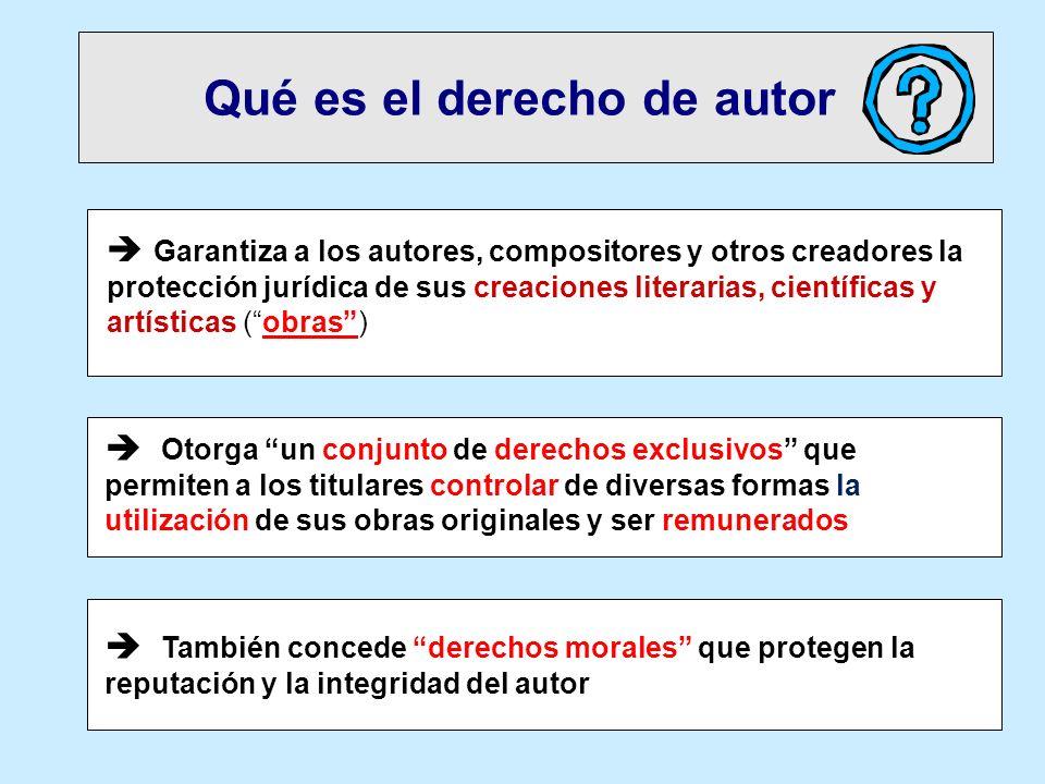 Qué es el derecho de autor Garantiza a los autores, compositores y otros creadores la protección jurídica de sus creaciones literarias, científicas y