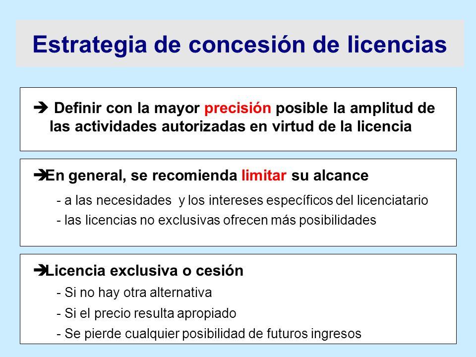 Definir con la mayor precisión posible la amplitud de las actividades autorizadas en virtud de la licencia è En general, se recomienda limitar su alca