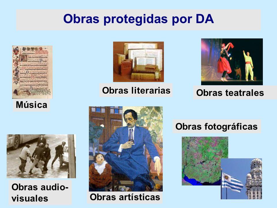 Obras literarias Obras audio- visuales Obras teatrales Música Obras fotográficas Obras artísticas Obras protegidas por DA