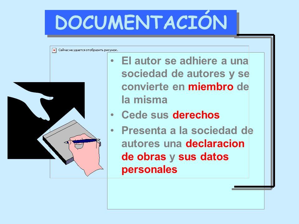 DOCUMENTACIÓN El autor se adhiere a una sociedad de autores y se convierte en miembro de la misma Cede sus derechos Presenta a la sociedad de autores