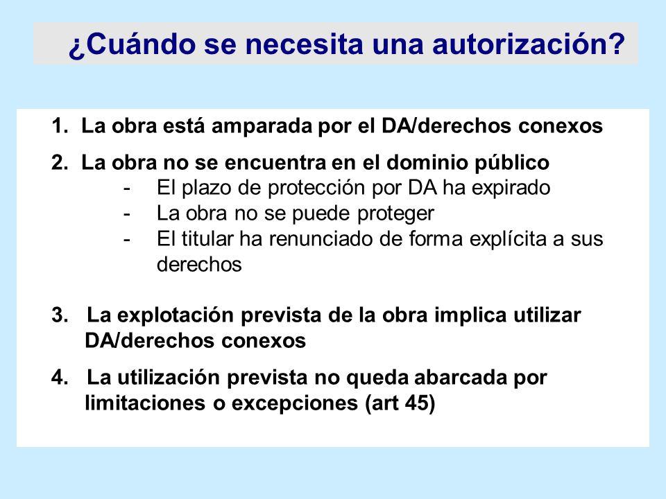 ¿Cuándo se necesita una autorización? 1. La obra está amparada por el DA/derechos conexos 2. La obra no se encuentra en el dominio público -El plazo d