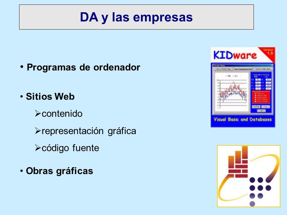DA y las empresas Programas de ordenador Sitios Web contenido representación gráfica código fuente Obras gráficas