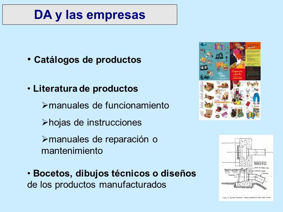 DA y las empresas Catálogos de productos Literatura de productos manuales de funcionamiento hojas de instrucciones manuales de reparación o mantenimie