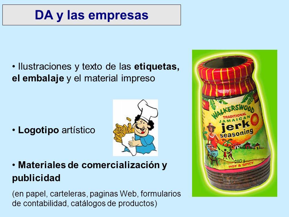 Ilustraciones y texto de las etiquetas, el embalaje y el material impreso Logotipo artístico Materiales de comercialización y publicidad (en papel, ca