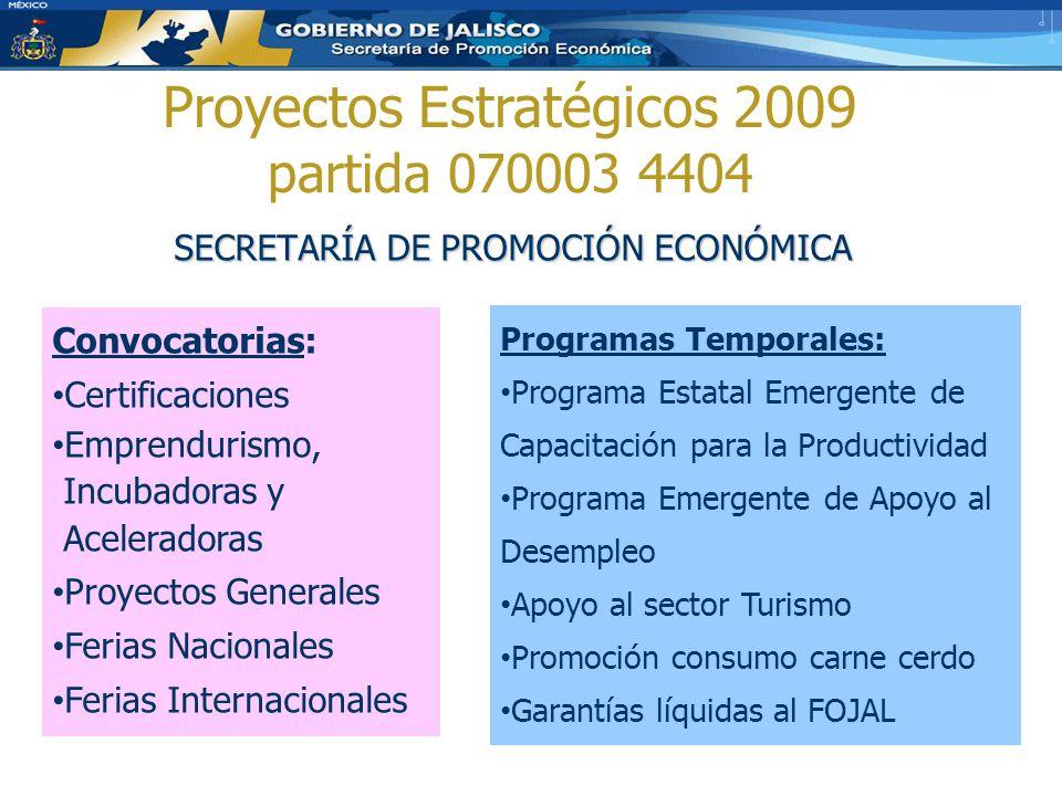 SECRETARÍA DE PROMOCIÓN ECONÓMICA Proyectos Estratégicos 2009 partida 070003 4404 Convocatorias: Certificaciones Emprendurismo, Incubadoras y Acelerad