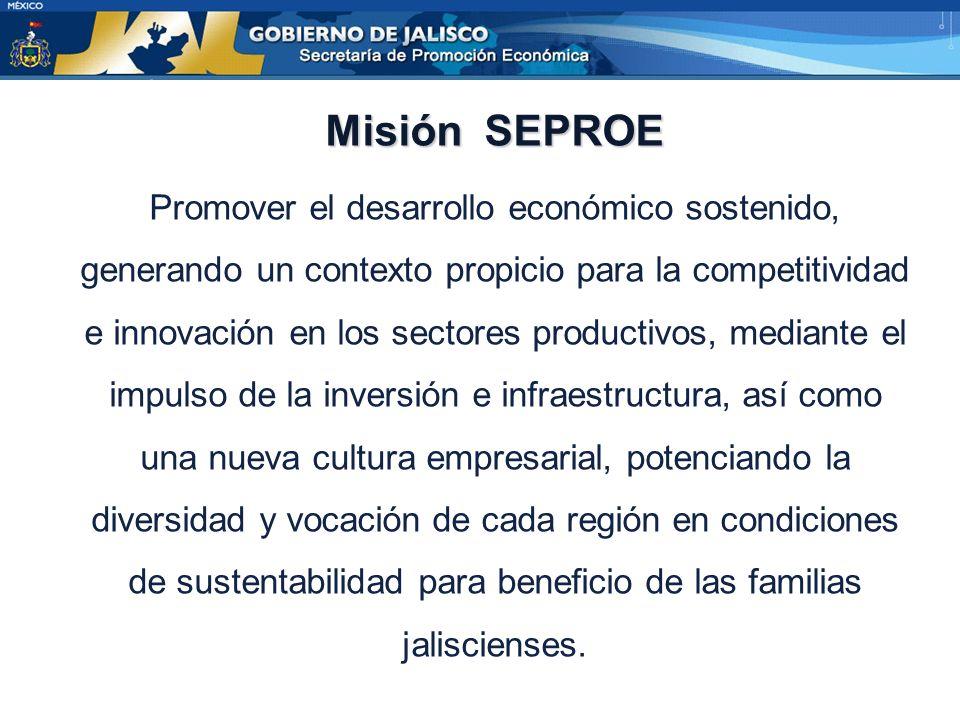 Misión SEPROE Promover el desarrollo económico sostenido, generando un contexto propicio para la competitividad e innovación en los sectores productivos, mediante el impulso de la inversión e infraestructura, así como una nueva cultura empresarial, potenciando la diversidad y vocación de cada región en condiciones de sustentabilidad para beneficio de las familias jaliscienses.