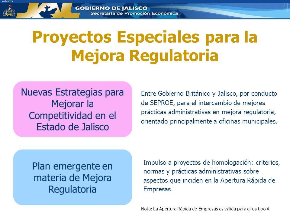 Proyectos Especiales para la Mejora Regulatoria Entre Gobierno Británico y Jalisco, por conducto de SEPROE, para el intercambio de mejores prácticas administrativas en mejora regulatoria, orientado principalmente a oficinas municipales.
